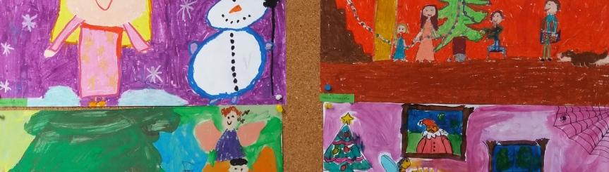 """Wystawa prac konkursu świątecznego w galerii """"Starego Dworca"""" Kliknięcie w obrazek spowoduje wyświetlenie jego powiększenia"""
