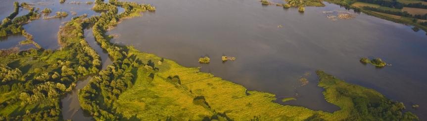 Zbiornik Goczałkowicki w rejonie ujścia Wisły z lotu ptaka, fot. A. Siudy