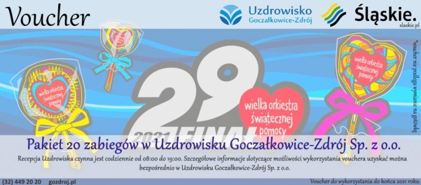 29 Finał WOŚP - licytacja - pakiet 20 zabiegów w Uzdrowisku Goczałkowice-Zdrój Kliknięcie w obrazek spowoduje wyświetlenie jego powiększenia