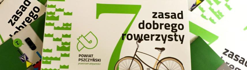 """Zdjęcie przedstawia ulotki """"7 zasad dobrego rowerzysty"""" (źródło: powiat pszczyński)"""